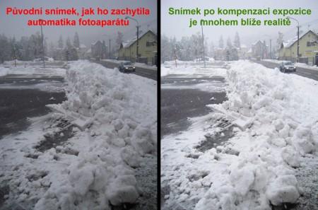 Korekce expozice - bílý sníh