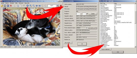 EXIF data v programu IrfanView
