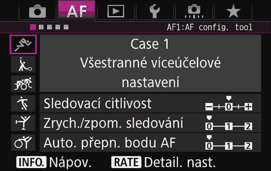 AF menu fotoaparátu | moje Tajemno